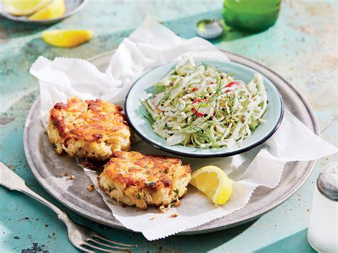 crab cakes  creamy fennel  radish slaw recipe