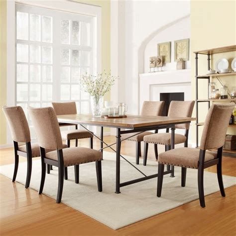 tribecca home presidio rustic brown vintage industrial modern 7 dining set by tribecca