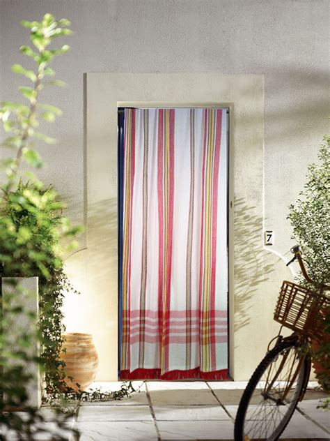 rideau de porte  rayures  antan rouge bleu vert