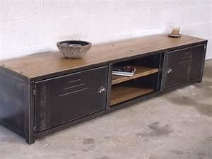 Meuble tv bas bois metal meuble loft micheli design for Meuble tele maison du monde 10 bibliothaque sur mesure bois metal micheli design