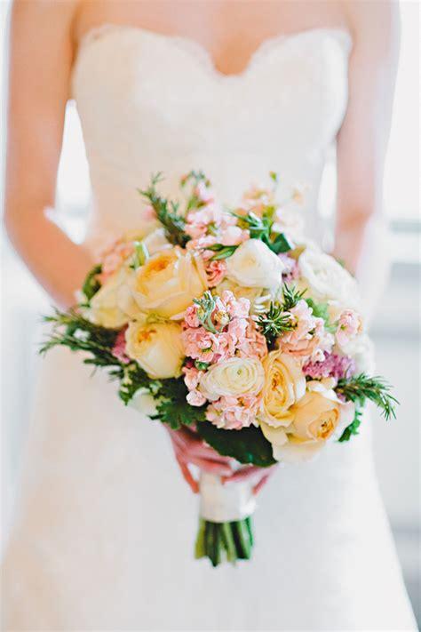 yellow  pink bridal bouquet elizabeth anne designs