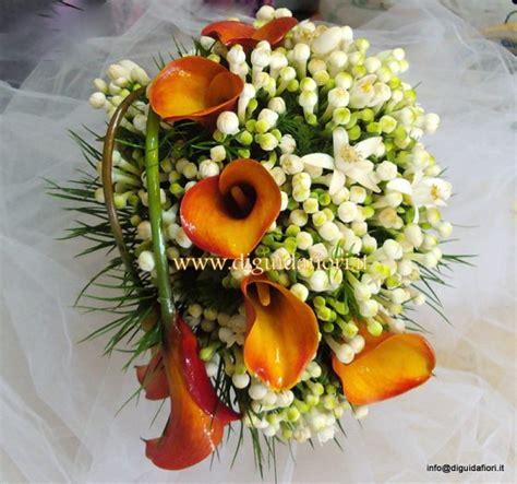 bouquet sposa fiori d arancio bouquet da sposa con calle arancio e bouvardia fiorista