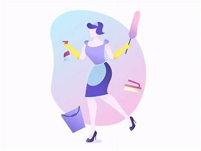 Cleaning Lady Animation Clean Dribbble Motion