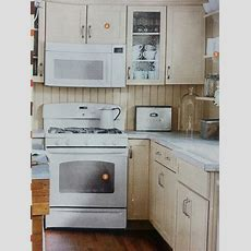Cream Cabinets With White Appliances  Kitchen Remodel