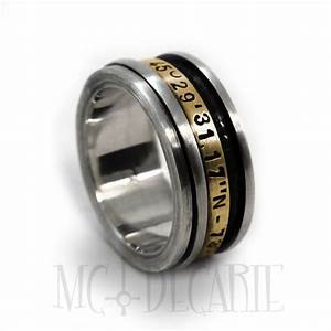 spinner ring 9mm 3mm spinner in 10k gold longitude With wedding ring with gps
