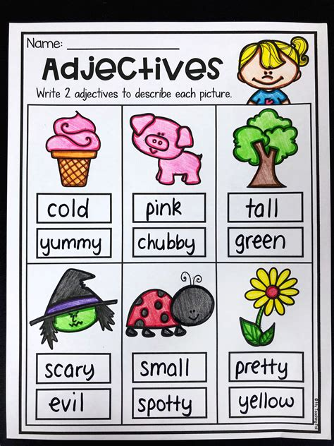 grammar worksheet packet nouns adjectives  verbs