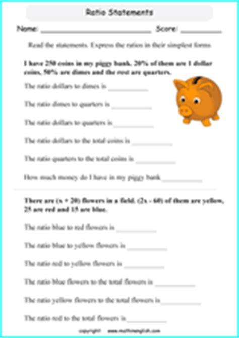 ratio  proportion worksheets  grade    math