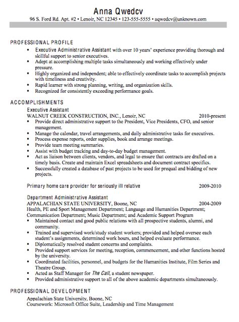 Resume Objective Executive Assistant by Chronological Sle Resume Executive Administrative