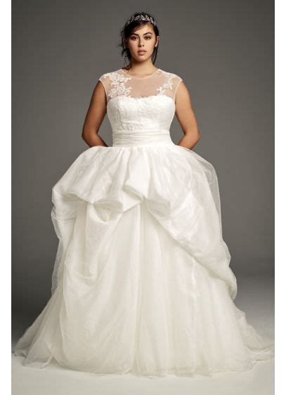 White By Vera Wang Illusion Plus Size Wedding Gown David