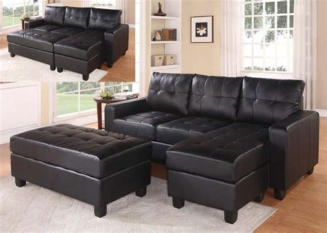 Chaise And Ottoman by Black Faux Leather Sectional Sofa With Reversible Chaise