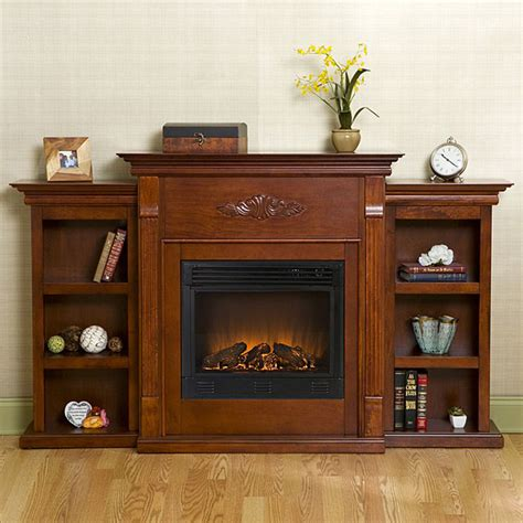 dublin mahogany bookcase electric fireplace  remote