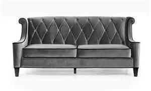 armen living barrister sofa gray velvet black piping