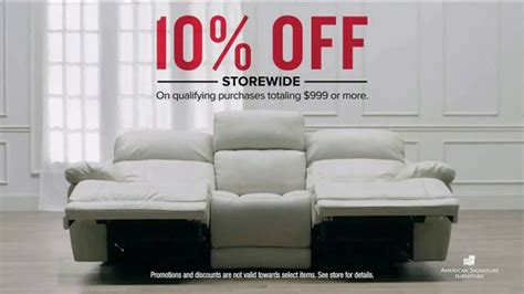 American furniture warehouse (afw) has been bringing you the best prices and widest selection of furniture and home decor since 1975! American Signature Furniture TV Commercial, '10 Percent Off Storewide' - iSpot.tv