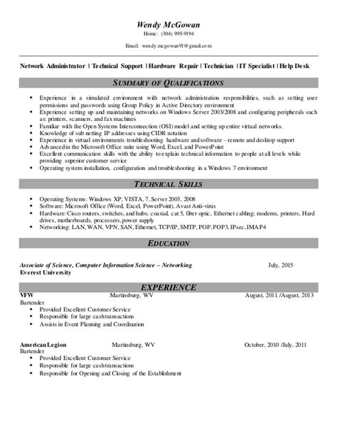 Entry Level Cis Resume by 100 Computer Hardware And Networking Resume Sles It Support Analyst Resume Sles