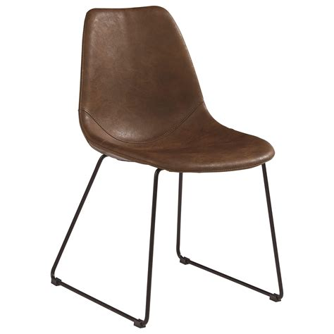 Molded Shell Side Chair with Brown PU LeatherLike Fabric