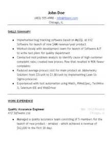 Resume Format For Quality Assurance by Quality Assurance Resume Sle Hloom