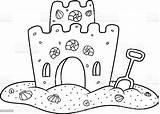 Sand Castle Coloring Vector Illustration Abstract sketch template