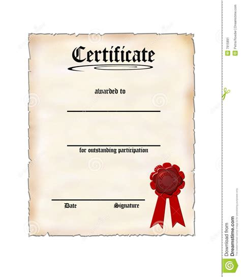 certificate  participation stock image image