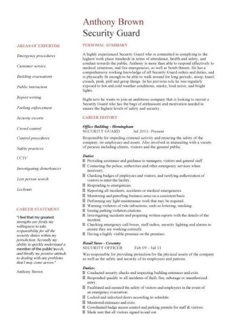 Security Resume Format by Sle Resume Of Security Guard Gallery Creawizard