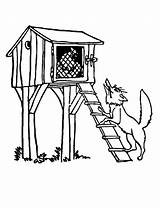 Chicken Coop Coloring Pages Wolf Under Standing Hut Drawing Draw Netart Getdrawings sketch template