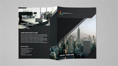 modern black bi fold brochure design template psd