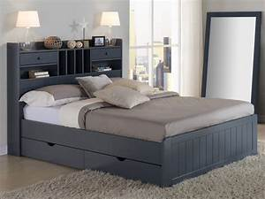 Lit 2 Places Avec Rangement : bed mederick met opbergruimte 140 x 190cm honing wit ~ Melissatoandfro.com Idées de Décoration