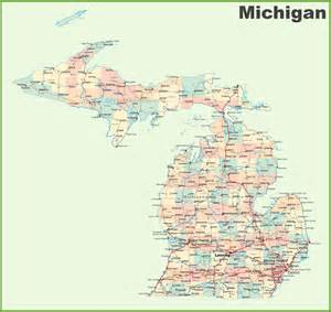 Michigan Road Map with Cities