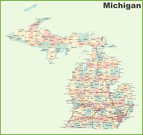 road map  michigan  cities