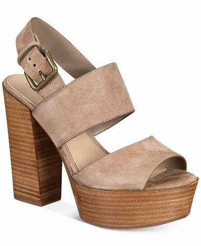 Aldo Sandals Heel Block Platform Brown Leather