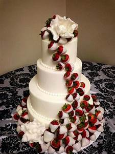 Wedding cake with white chocolate dipped strawberries ...