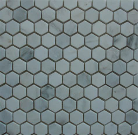 marble hexagon tile mosaic white carrara 1 inch polished
