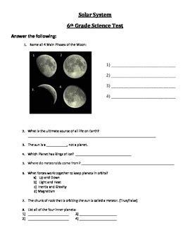 solar system test  grade  teachertime tpt