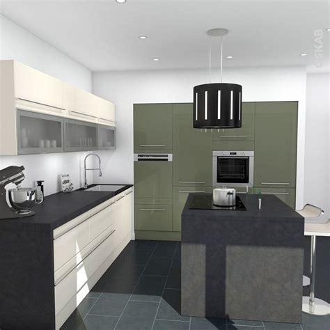 cuisine en l avec ilot idée relooking cuisine cuisine moderne et bicolore décor