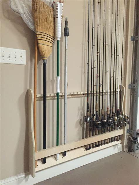 wall mounted rod rack vertical  organized built  rods  rest fishing rod racks