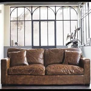 Canapé Vintage Maison Du Monde : canap cuir aspect vieilli jamais servi maison du monde rh ne ~ Teatrodelosmanantiales.com Idées de Décoration