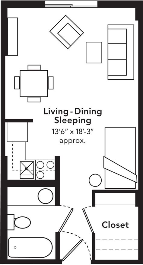 studio blueprints studio apartments include a size