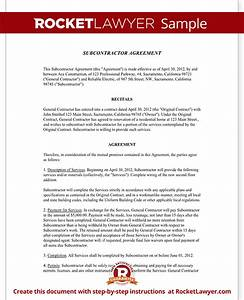 subcontractor agreement contract form rocket lawyer With contract for subcontractors template