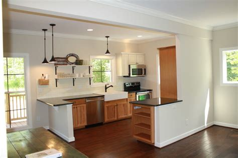 escape living  kitchen granite hickory cabinets farm house sink open shelves traditional