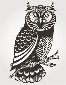 Exquisite Owl Silhouette – vector graphics   My Free ...
