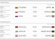 Hora de Colombia de los partidos del Mundial de Rusia