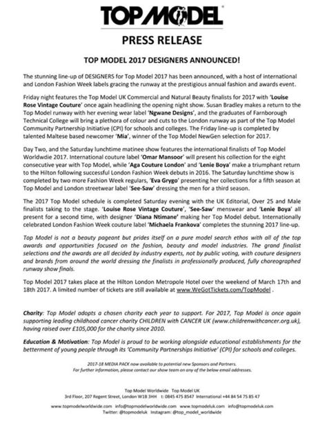 Top Model Uk 2017 Press Release  Designers Announced. Average Cost Of Dog Dental Cleaning. How To Start A Moving Company Business. Rock Valley College Careers Email Html Table. Cheap Final Expense Leads Bronx Rehab Center. Airline Partners With United. Workers Compensation Policy Form. Looking For Blog Writers Dallas Maid Services. Plastic Surgery Breast Augmentation
