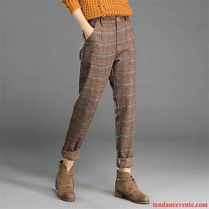Pantalon lin femme taille elastiquee decontractee maigre l for Pantalon carreaux femme