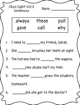 cloze sight word sentences 2nd grade sight words