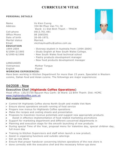 Exle Of Pastry Chef Resume by Cv V 245 Ki 234 N Cường