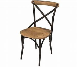 Chaise Fer Forgé Et Bois : lot 2 chaises au design industriel en bois vieilli et fer ~ Dailycaller-alerts.com Idées de Décoration