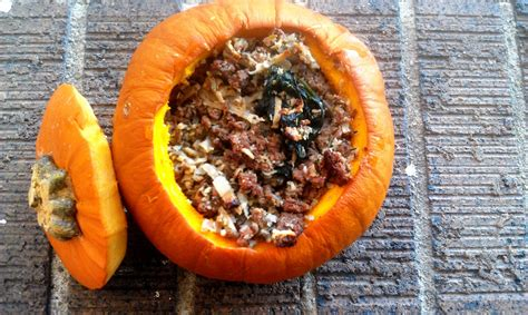 Meaty Rice Stuffed Pumpkins