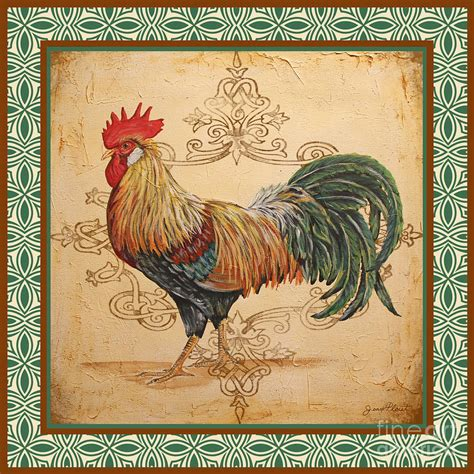 renaissance rooster a green painting by jean plout