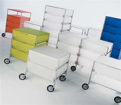 bloc tiroirs bureau caisson à roulettes mobil 3 tiroirs glace kartell