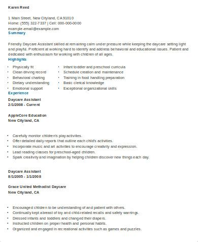 Daycare Assistant Resume by Sle Daycare Resume 8 Exles In Word Pdf