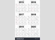 Simple Calendar 2015 2016 2017 2018 Stock Vector 234416542